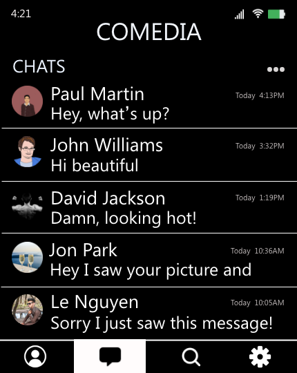 "The image shows Sannvi's chats on CoMedia, an imaginary new platform, in a mobile view. It shows the five most recent messages where four of them are messages from men about Sannvi's looks, such as ""Hi beautiful."" from a user named John Williams and ""Damn, looking hot!"" from David Jackson."
