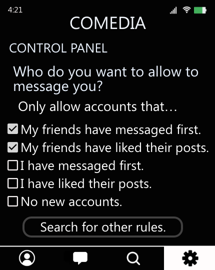 The image shows the control panel of CoMedia where Sannvi can choose who can message her. Sannvi has selected the two options that only allow accounts that either Sannvi's friends have messaged them first or liked their posts to message her.